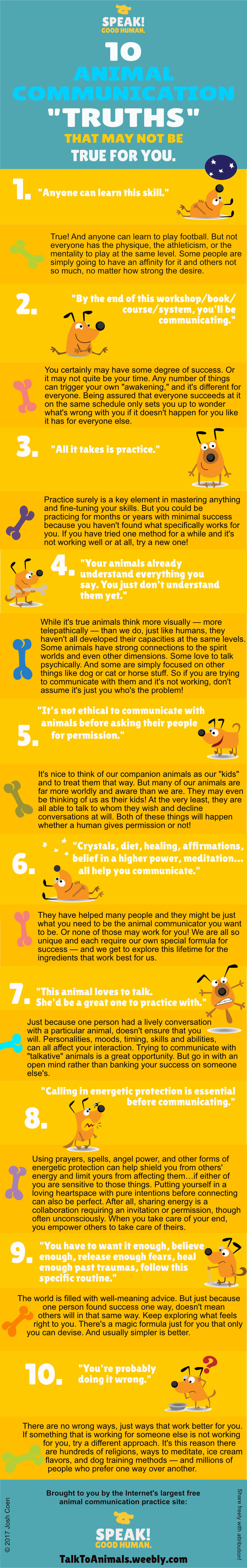 Infographic on 10 animal communication truths that may not be true for you